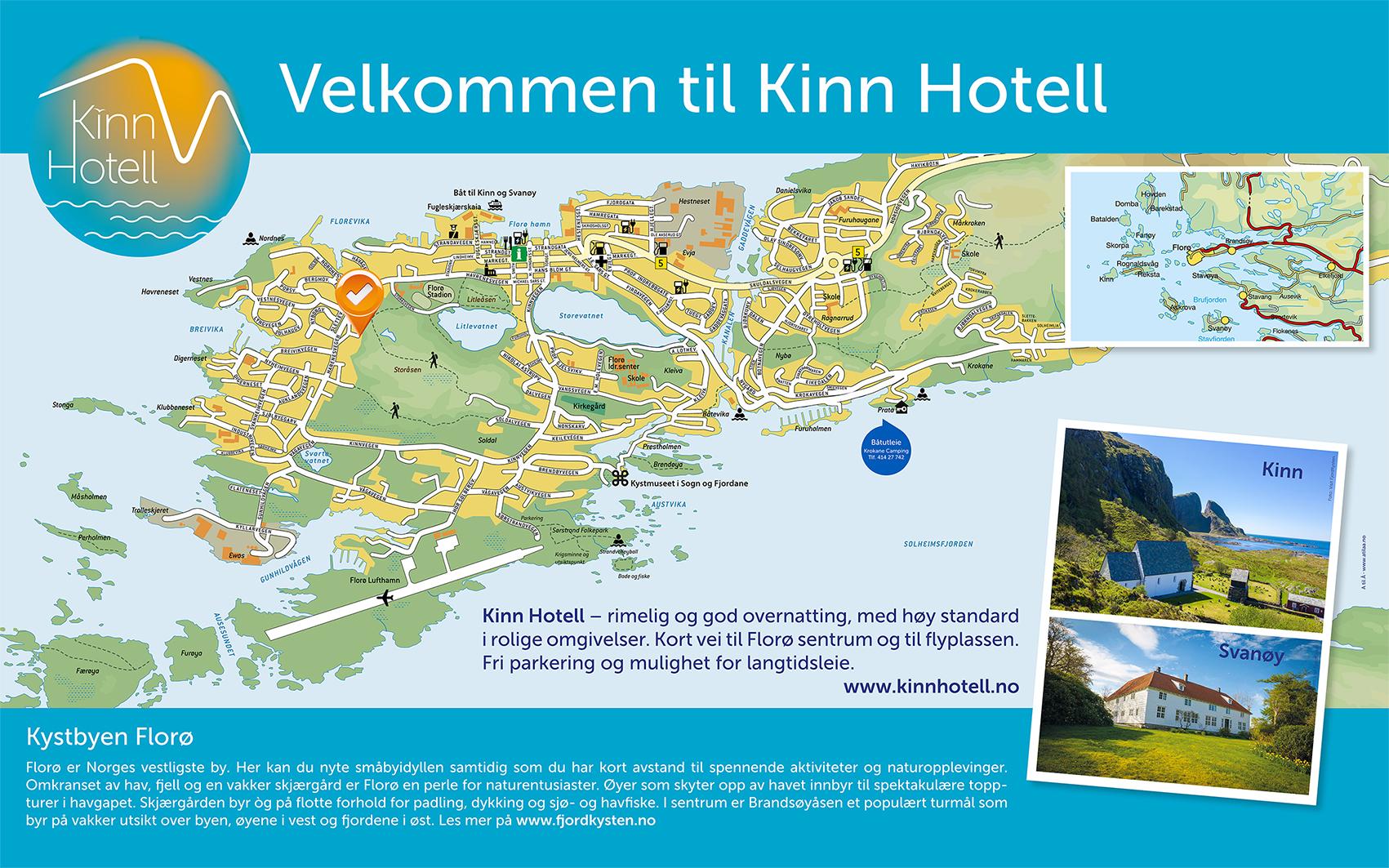 Kinn Hotell kartskilt 2021 - kinnhotell.no